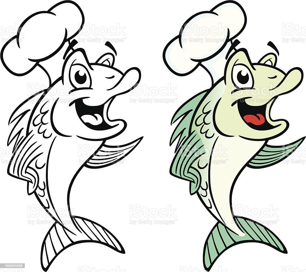 Fish Cook vector art illustration