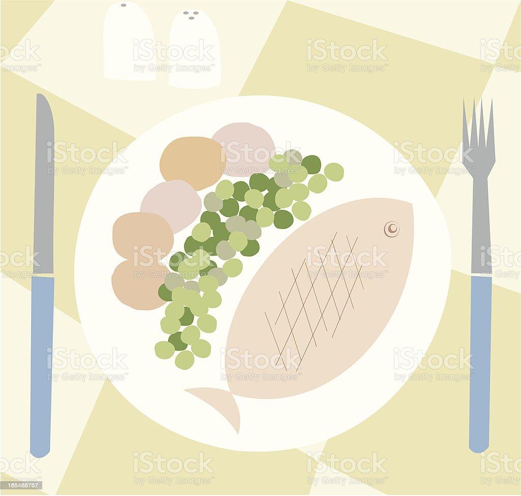 Fish Dinner royalty-free stock vector art