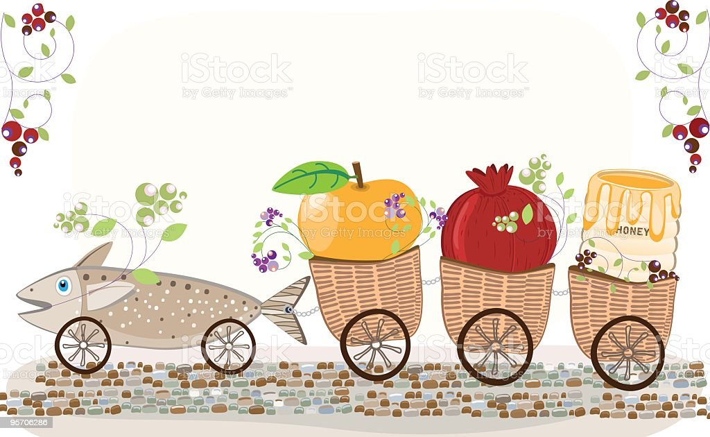 Fish Drawing Baskets With Apple, Pomegranate and Honey Along Road vector art illustration