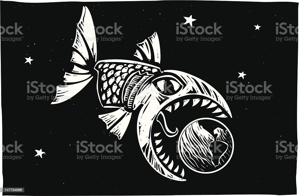Fish Eating Earth royalty-free stock vector art