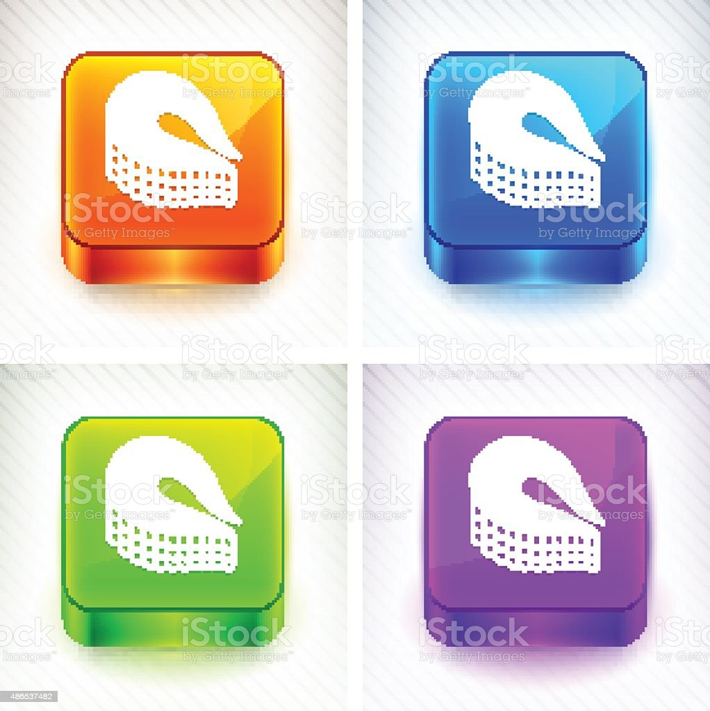 Fish Fillet on Color Square Buttons vector art illustration