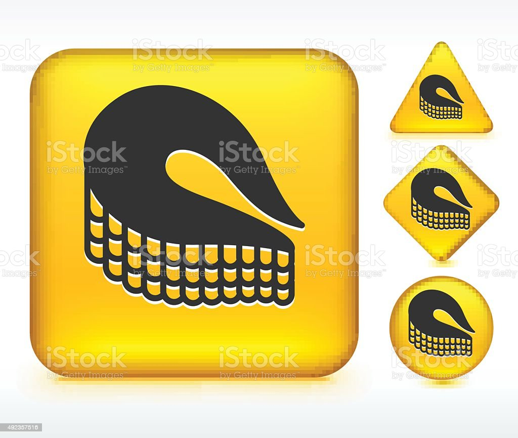 Fish Fillet on Yellow Buttons vector art illustration