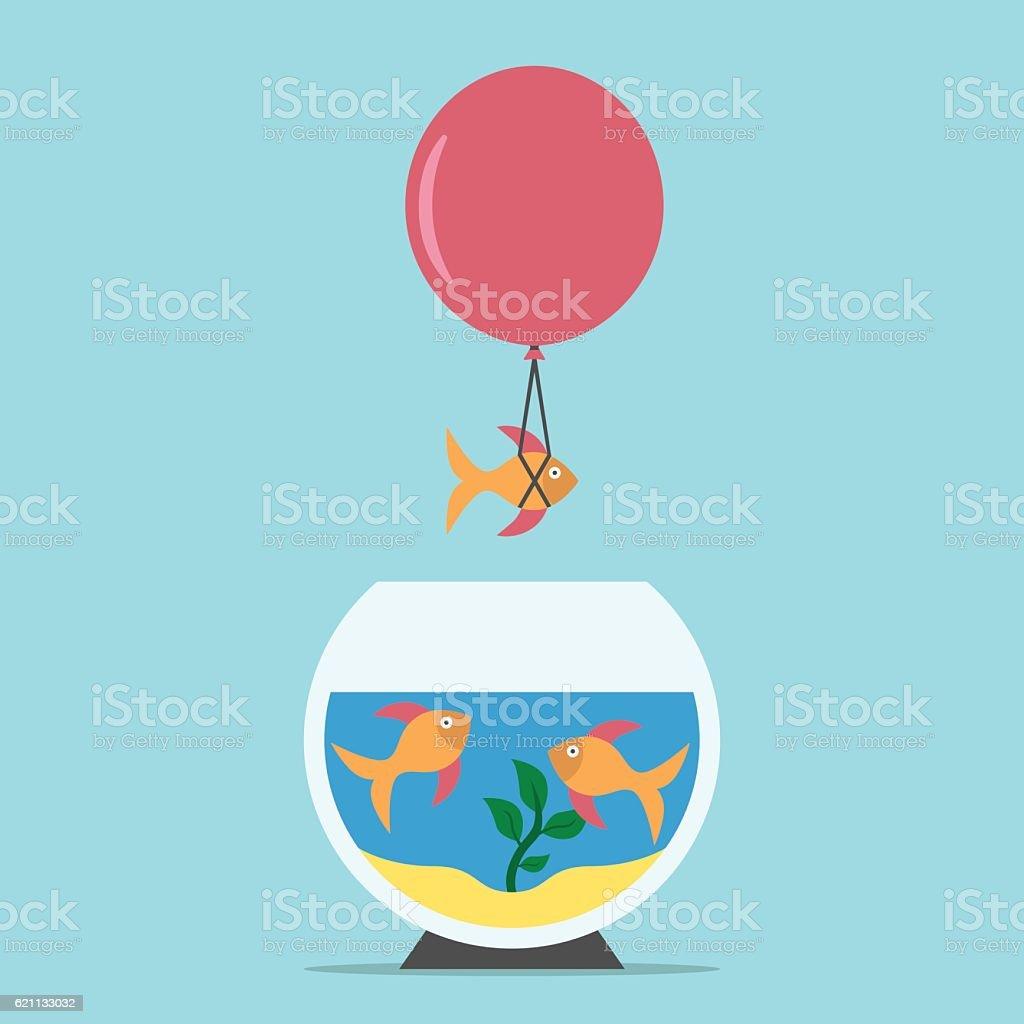 Fish flying from aquarium vector art illustration