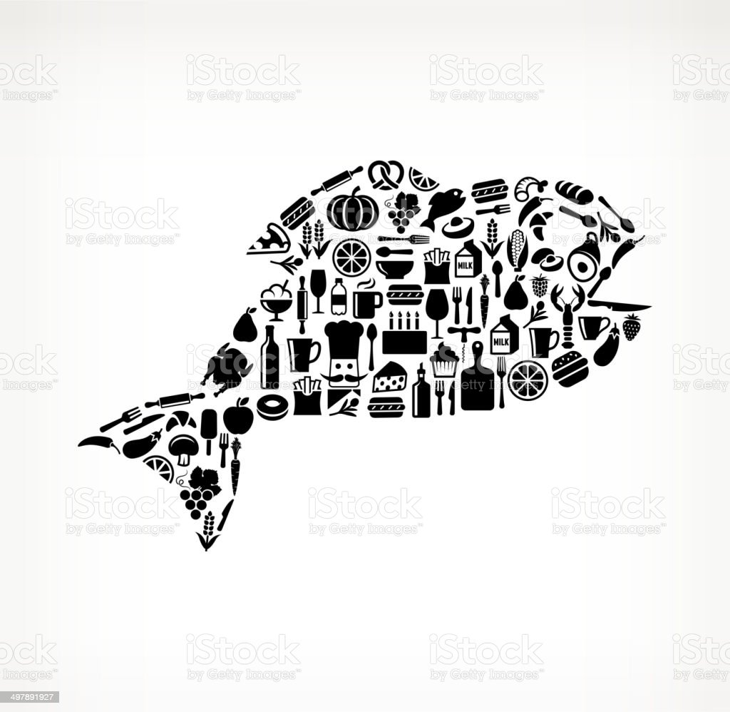 Fish on royalty free vector icons Food and Drink. The vector icons of...