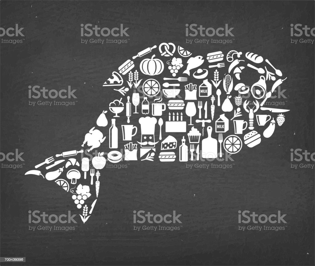 Fish Food & Drink royalty free vector icon pattern. This image...