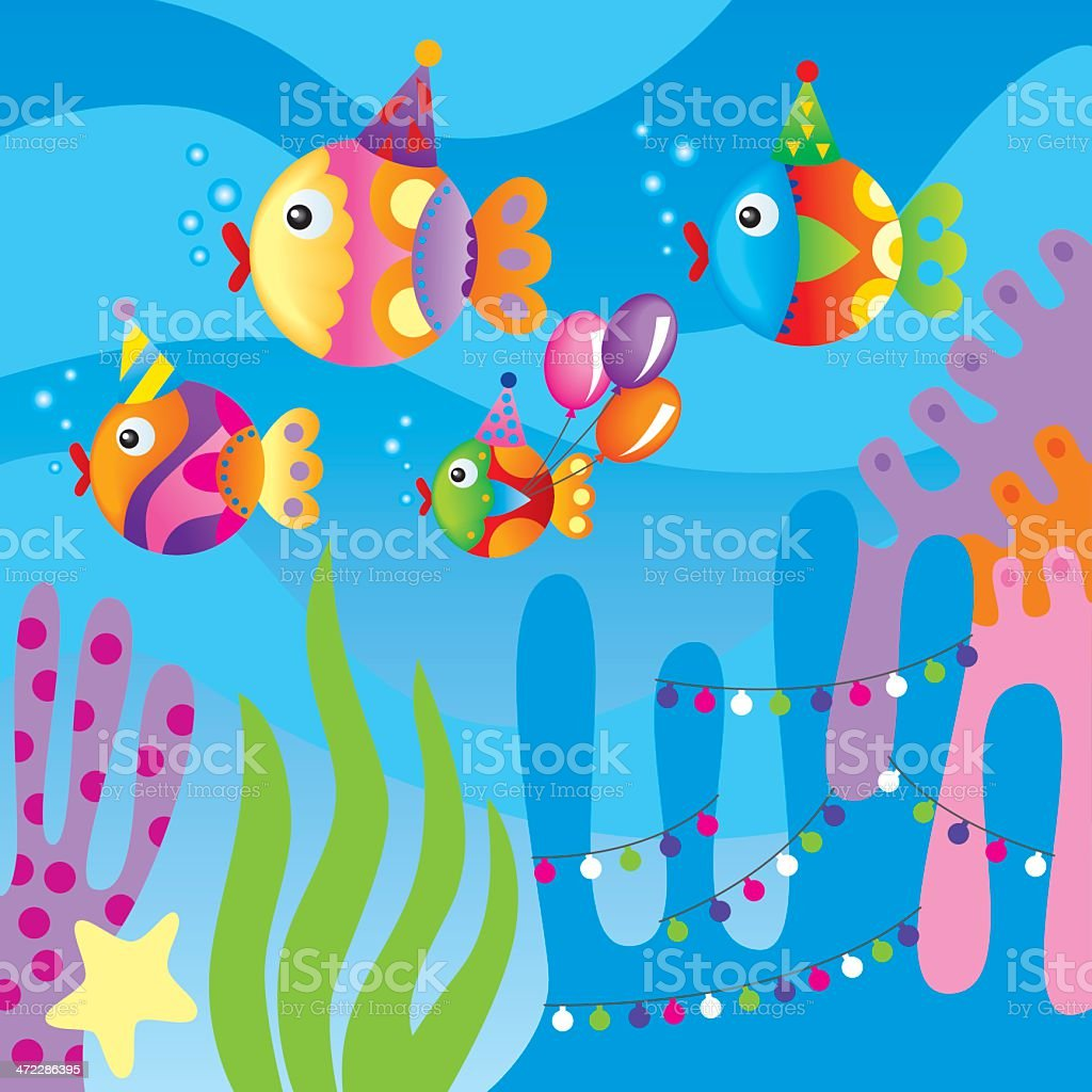 Fish going to a birthday party royalty-free stock vector art
