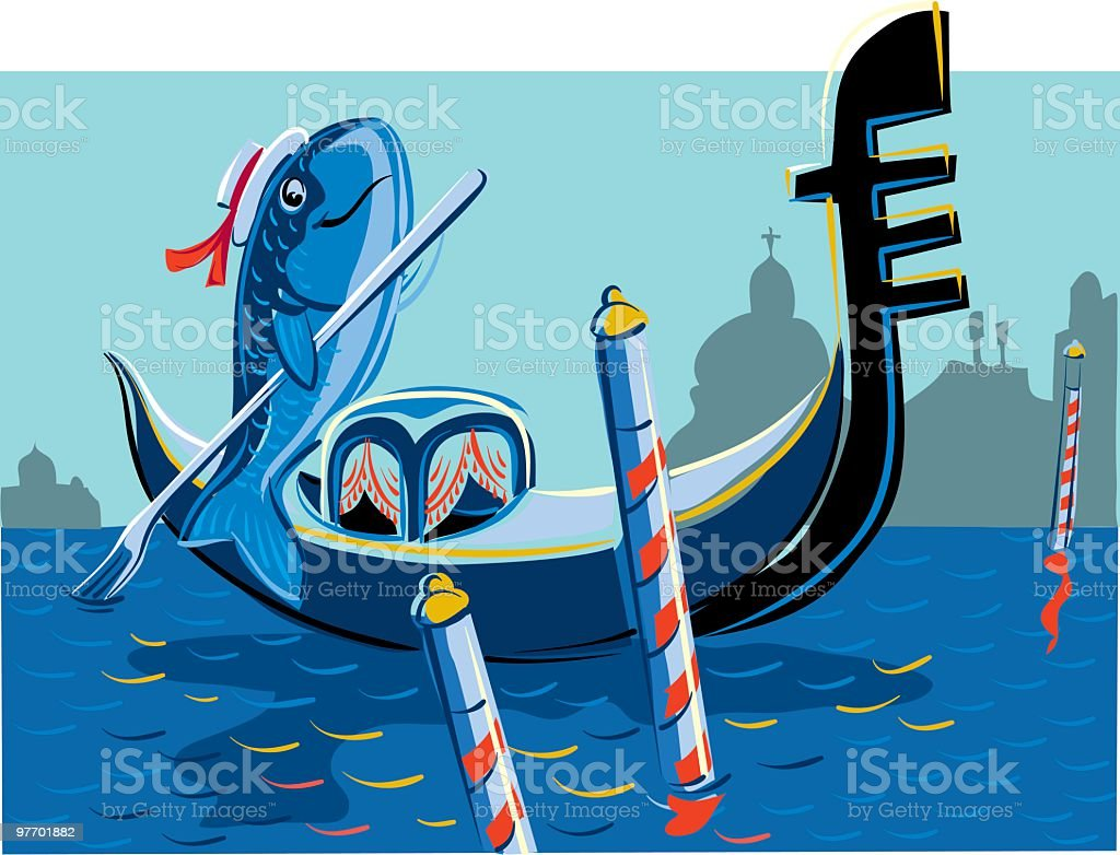 fish gondolier royalty-free stock vector art
