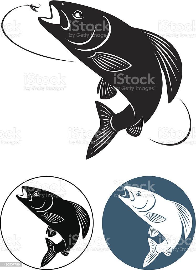 fish grayling vector art illustration