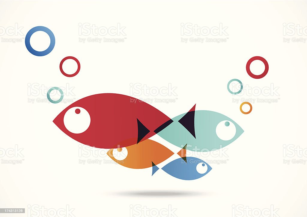 Fish Icon Abstract Background vector art illustration