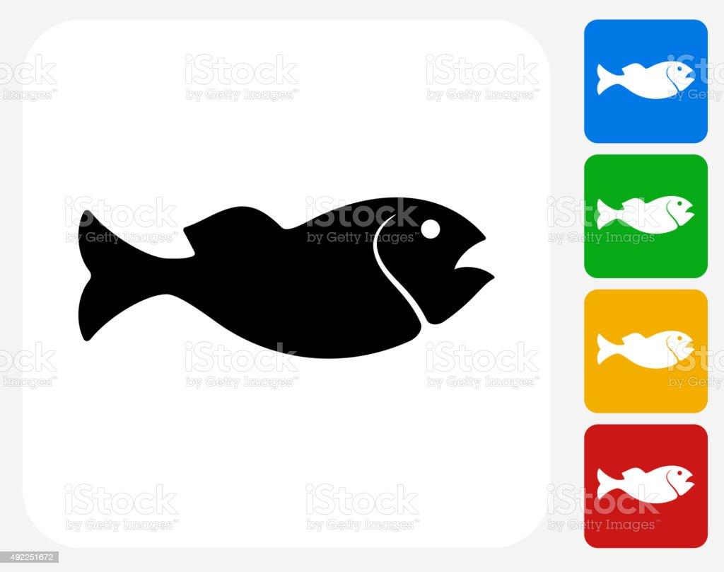 Fish Icon Flat Graphic Design vector art illustration