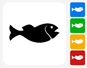 Fish Icon Flat Graphic Design
