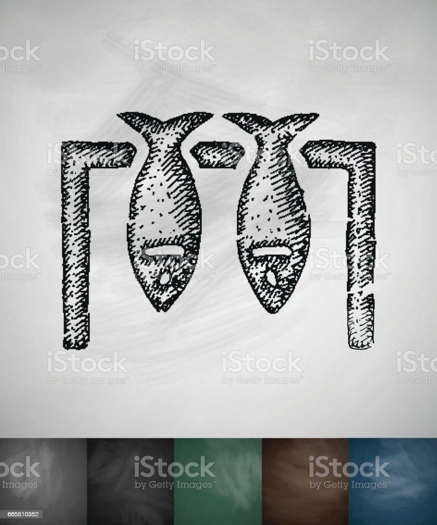 fish icon. Hand drawn vector illustration vector art illustration