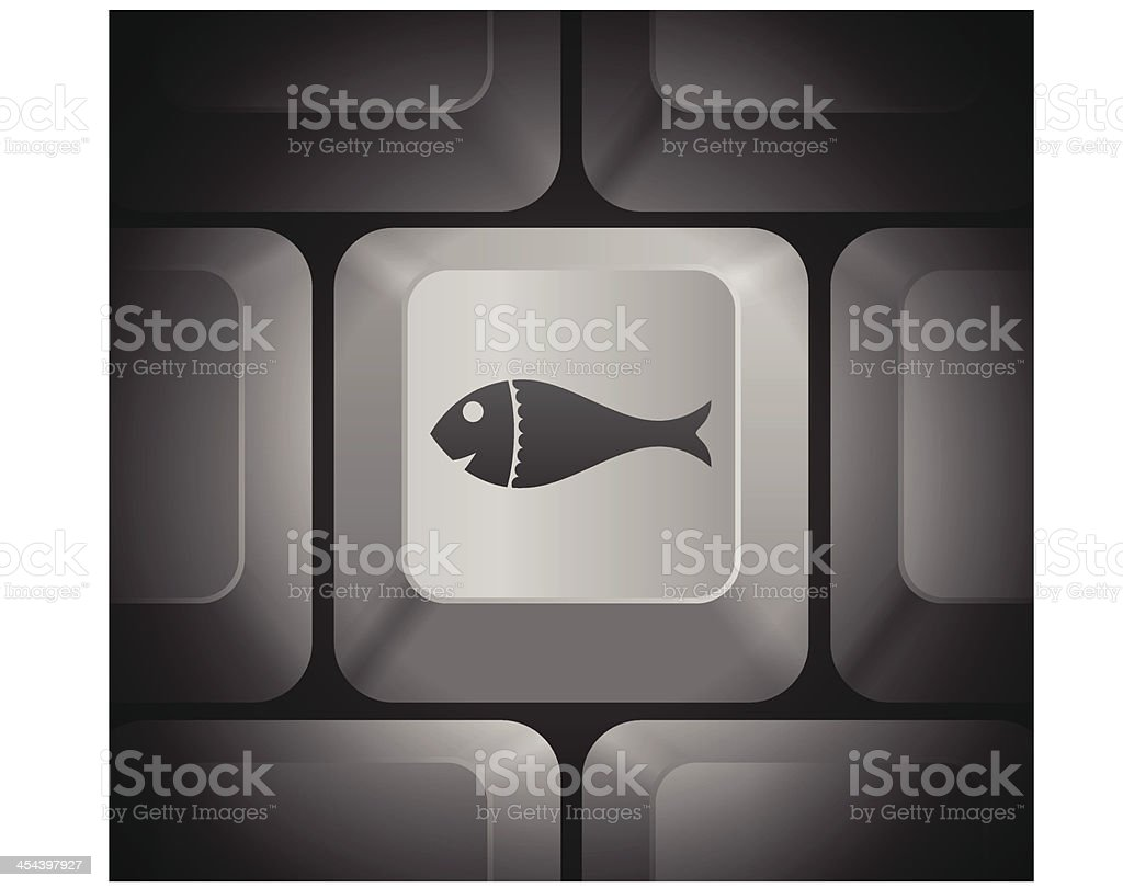 Fish Icon on Computer Keyboard royalty-free stock vector art