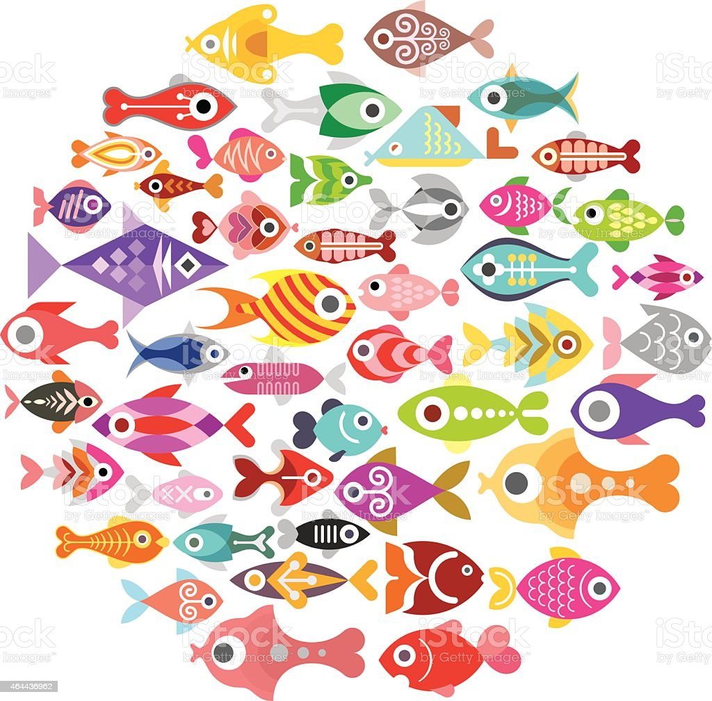 Fish icons round vector art illustration