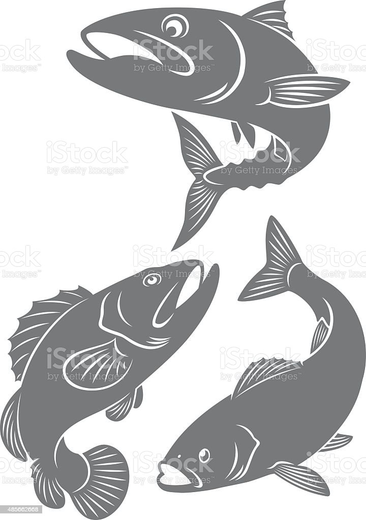 fish icons vector art illustration