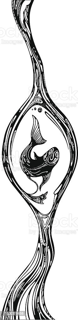 Fish in egg abstract artwork vector art illustration
