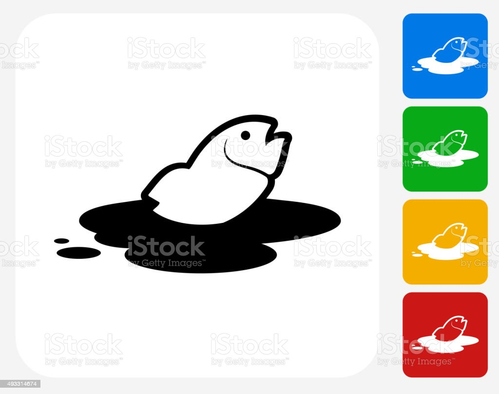 Fish in Oil Leak Icon Flat Graphic Design vector art illustration