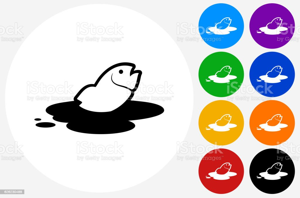 Fish in Oil Leak Icon on Flat Color Circle Buttons vector art illustration