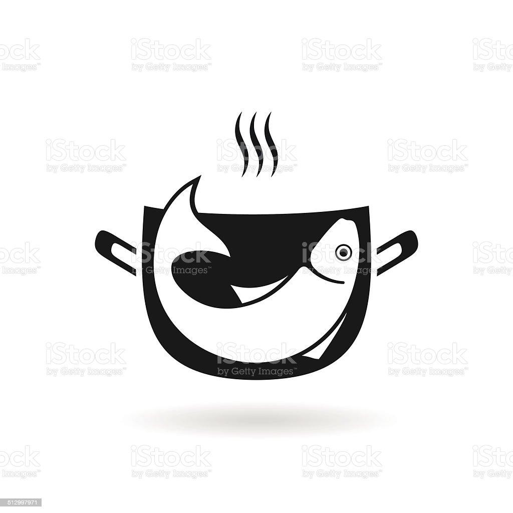 Fish in pan vector art illustration