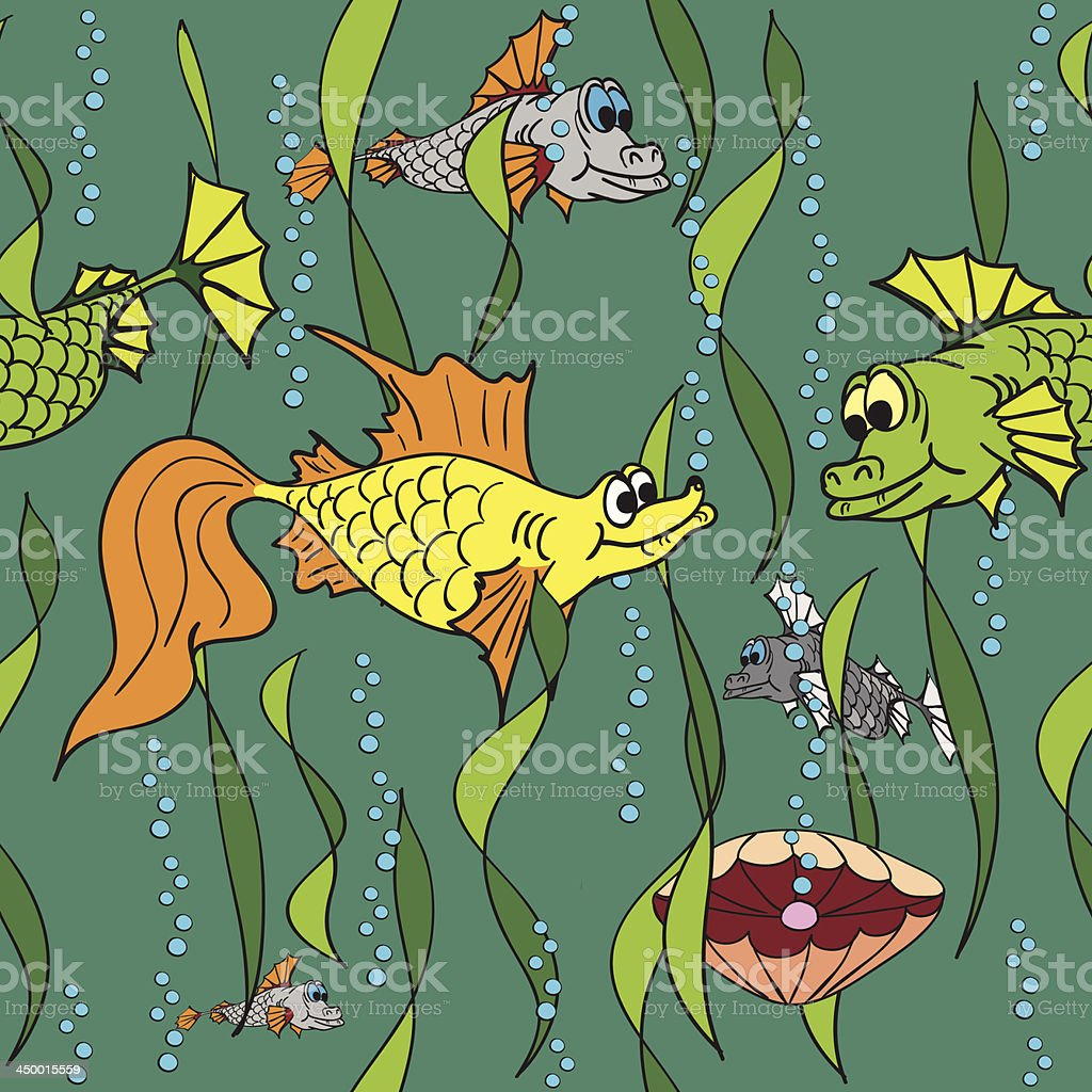 Fish in the sea. Seamless texture. royalty-free stock vector art