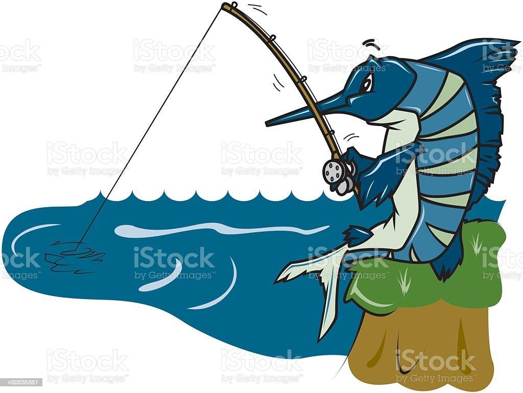 Fish is Fishing royalty-free stock vector art