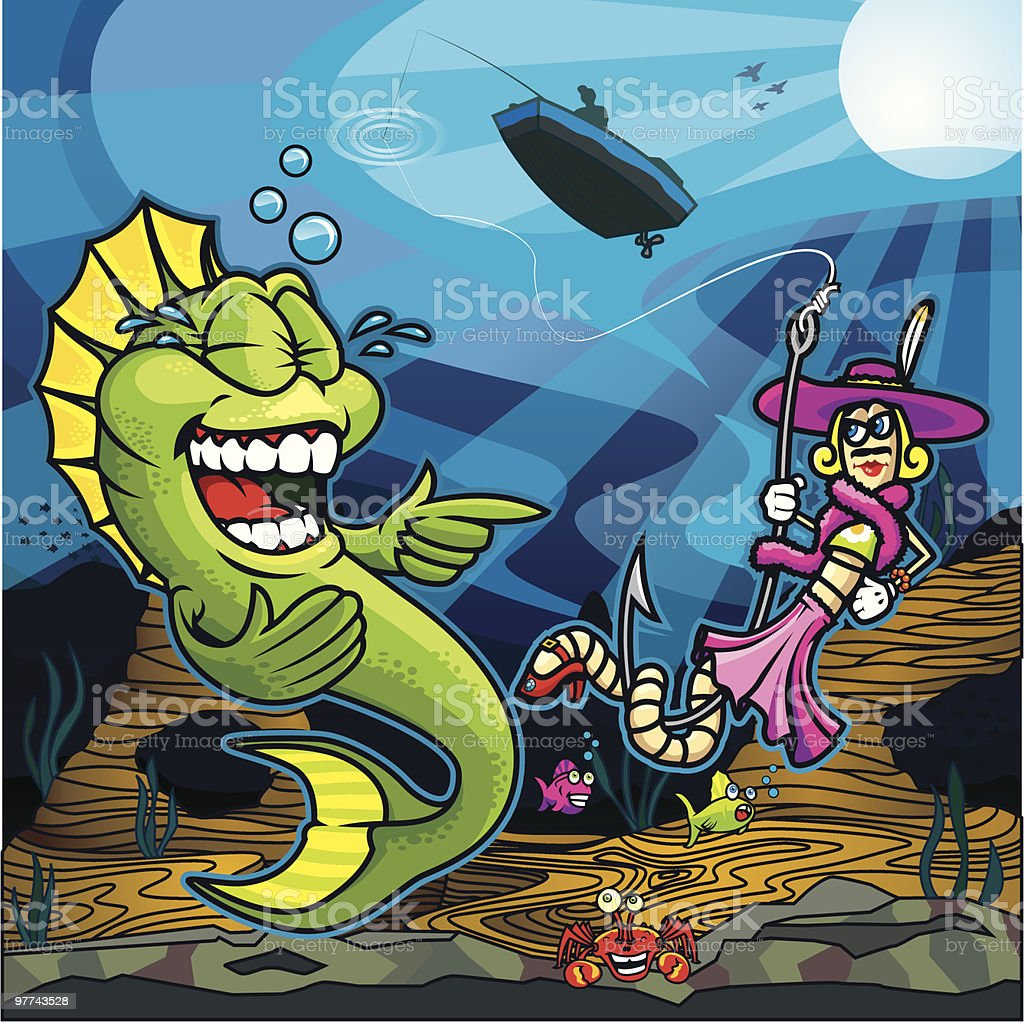 Fish Laughing at Dressed Up Worm Bait vector art illustration