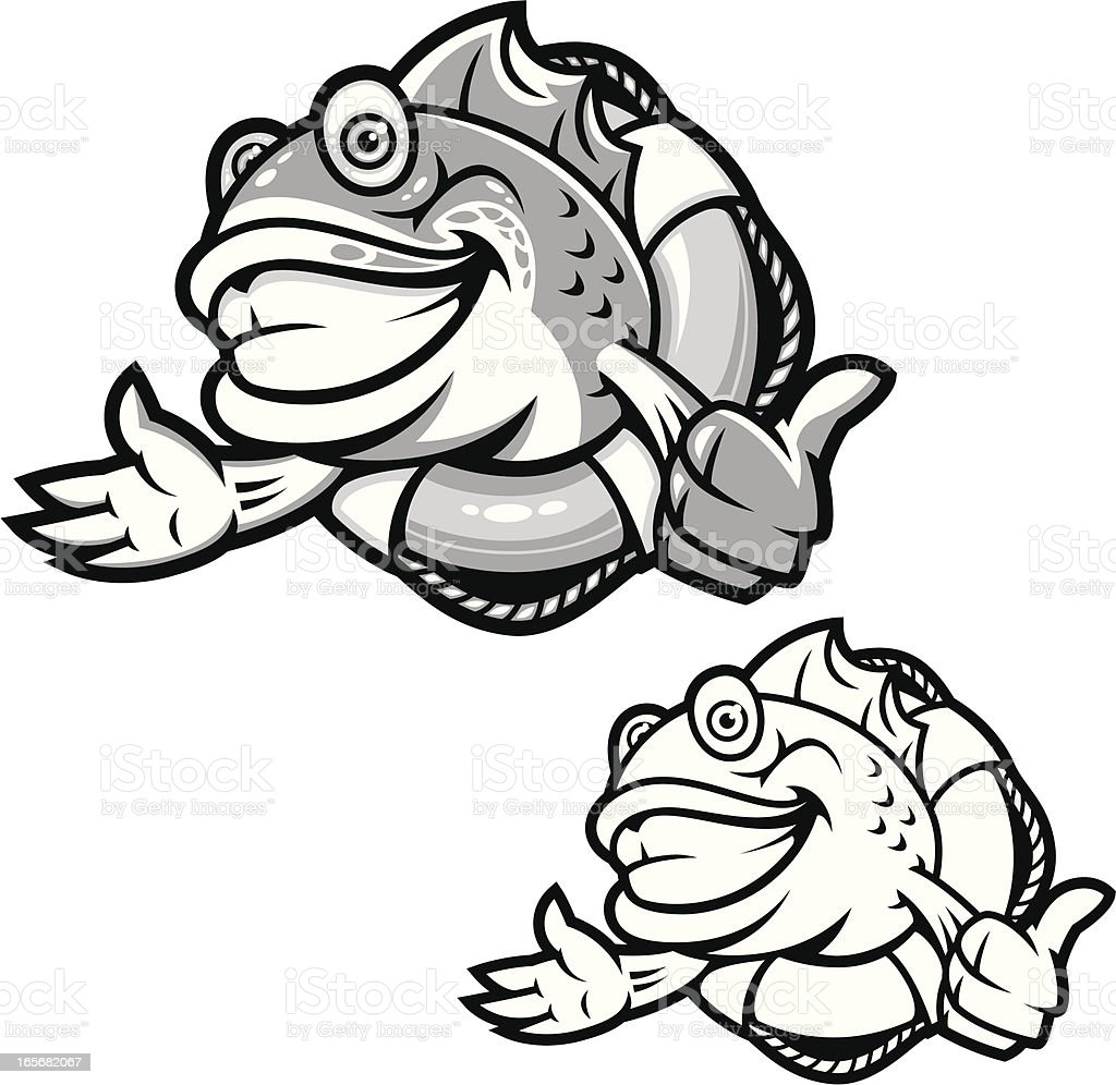 Fish Life Preserver B&W royalty-free stock vector art