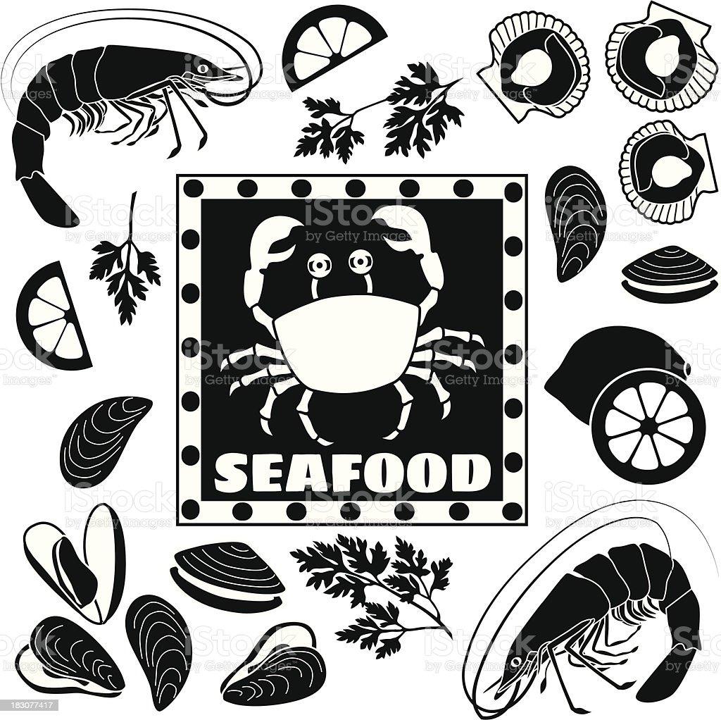 fish market design elements vector art illustration
