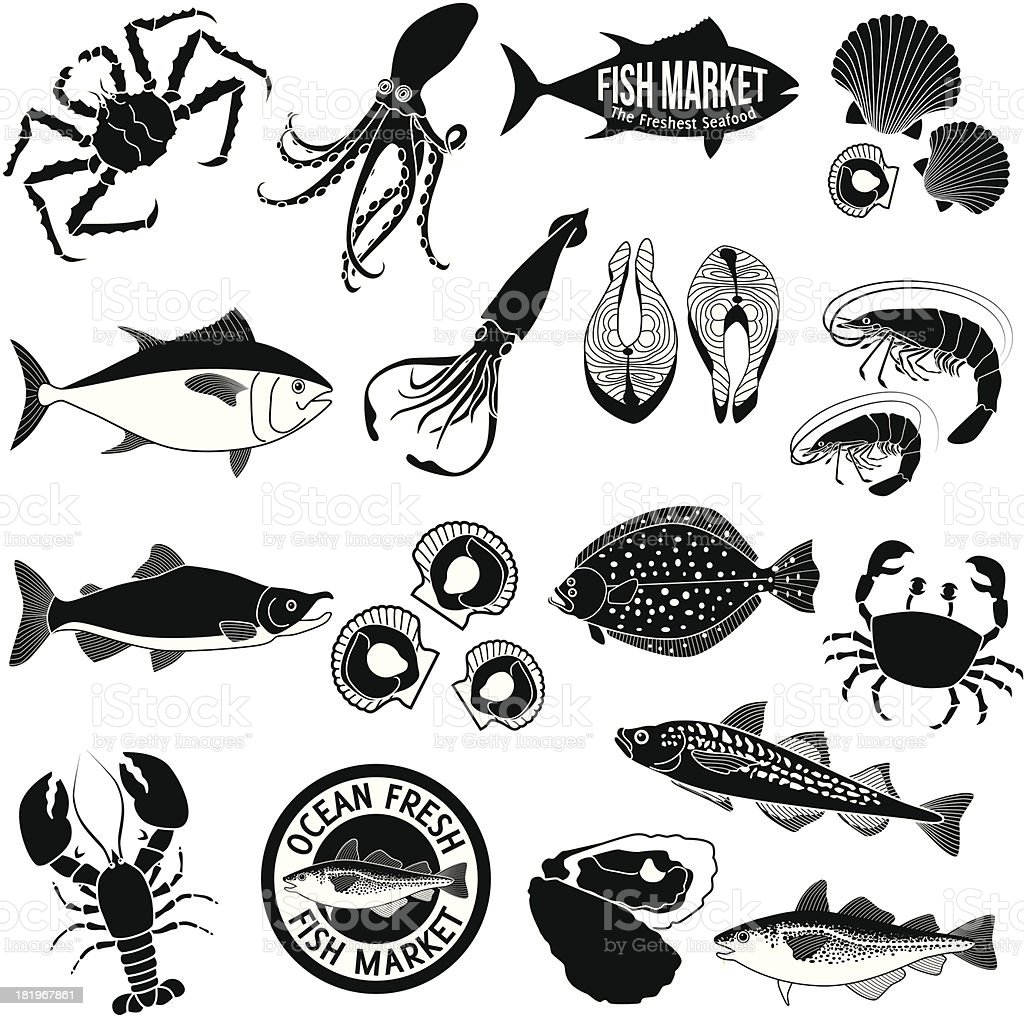 fish market icon set vector art illustration