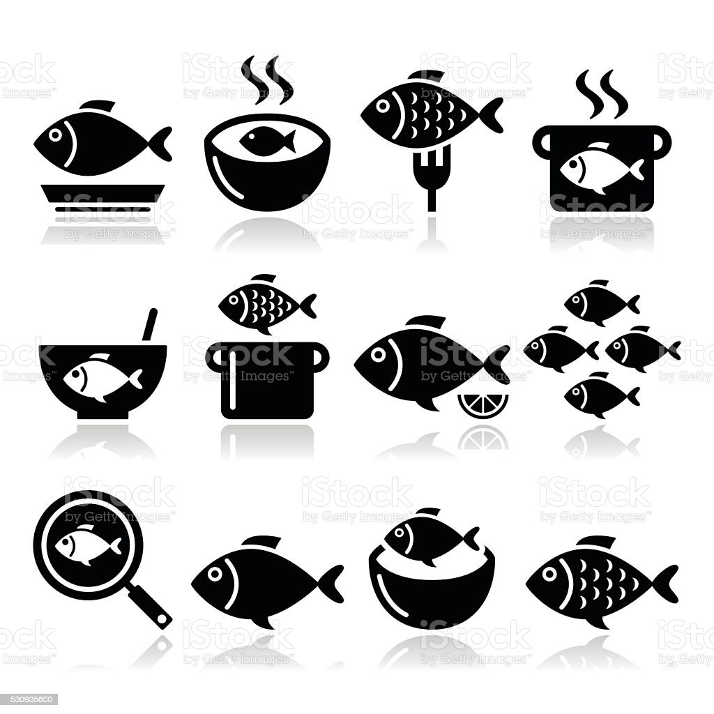 Fish meals icons - soup, chowder, goulash, fried fish vector art illustration
