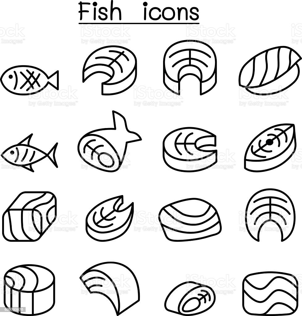 Fish meat icon set in thin line style vector art illustration