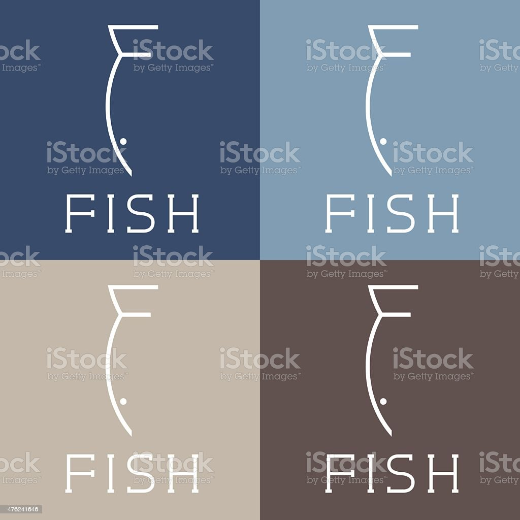 fish monogram vector art illustration