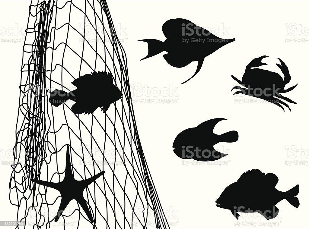 Fish Net'n Critters Vector Silhouette vector art illustration