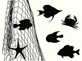 Fish Net'n Critters Vector Silhouette