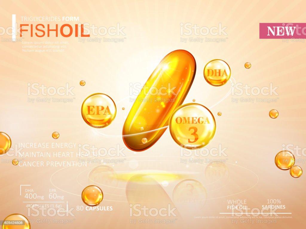 Fish oil ads template vector art illustration