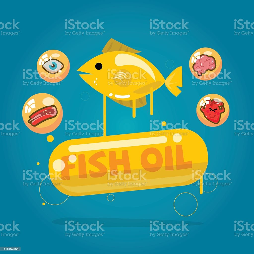 fish oil capsules. Cod liver oil with benefit vector art illustration