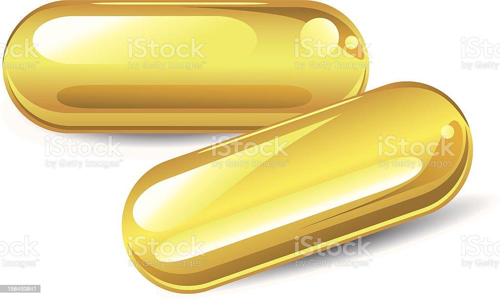 Fish oil capsules vector art illustration
