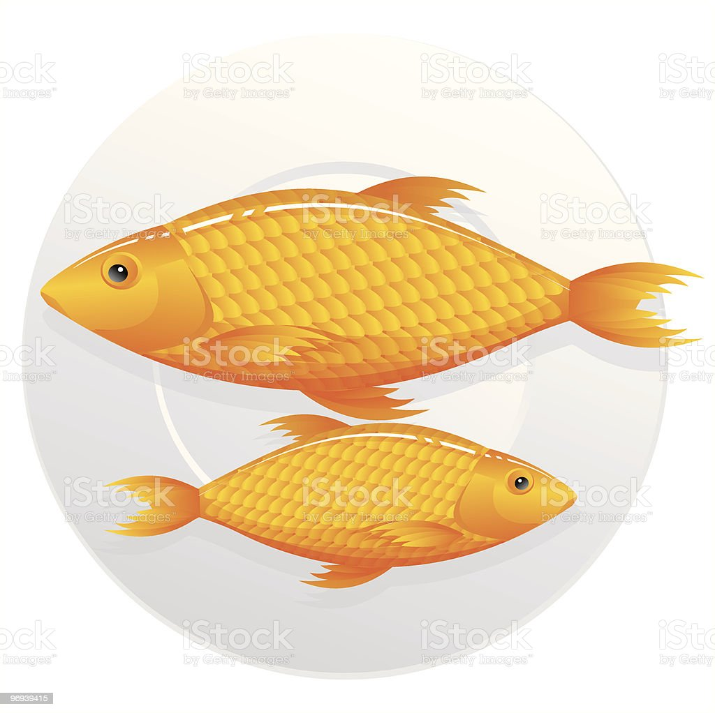 Fish on a plate royalty-free stock vector art