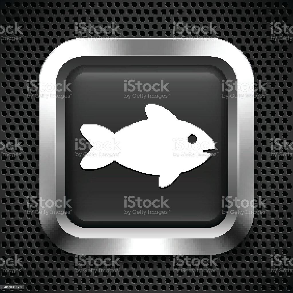 Fish on Black Square Button vector art illustration