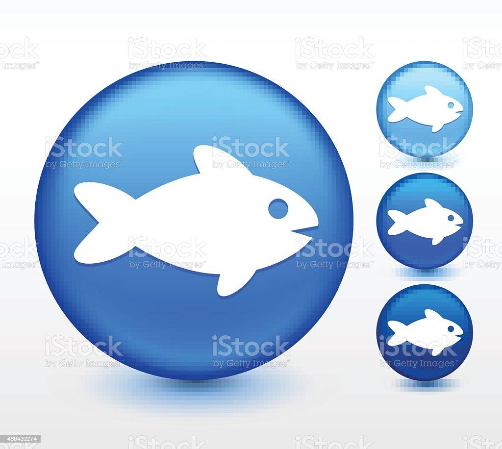 Fish on Blue Round Button vector art illustration