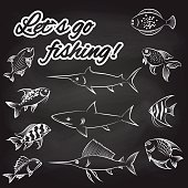 Fish on chalkboard and text