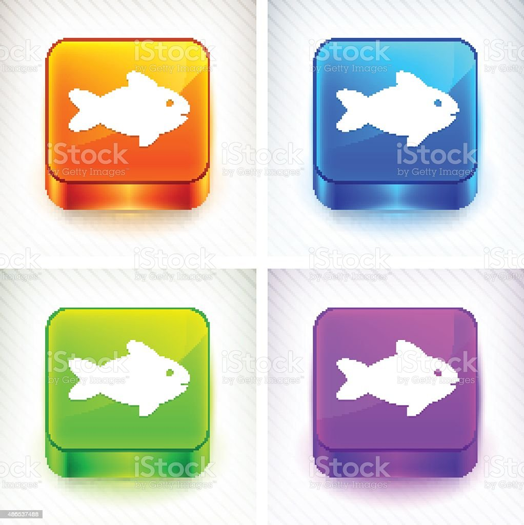 Fish on Color Square Buttons vector art illustration
