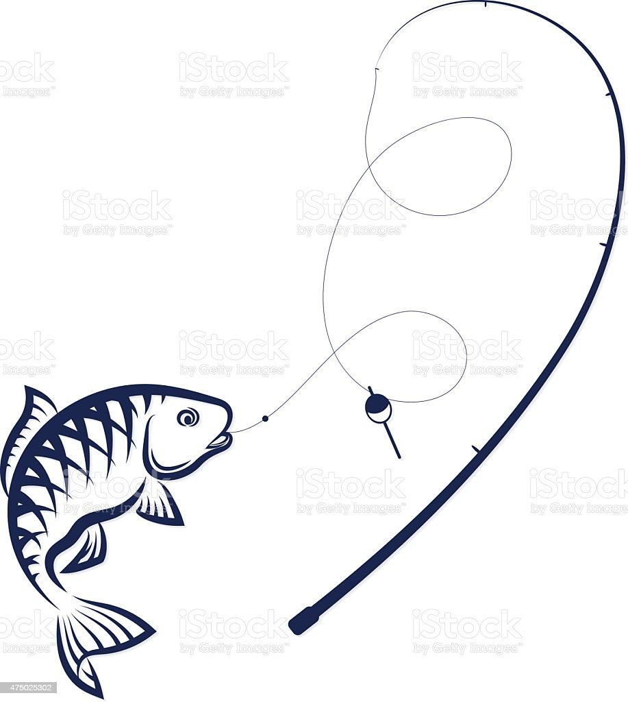 Fish on the hook and rod vector art illustration