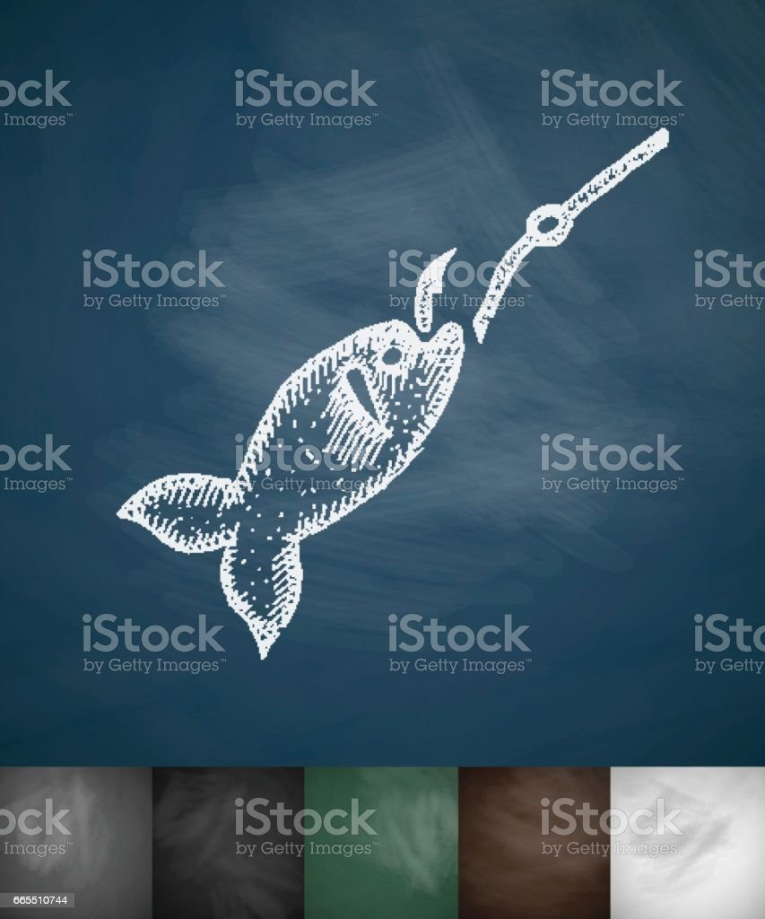 fish on the hook icon. Hand drawn vector illustration vector art illustration
