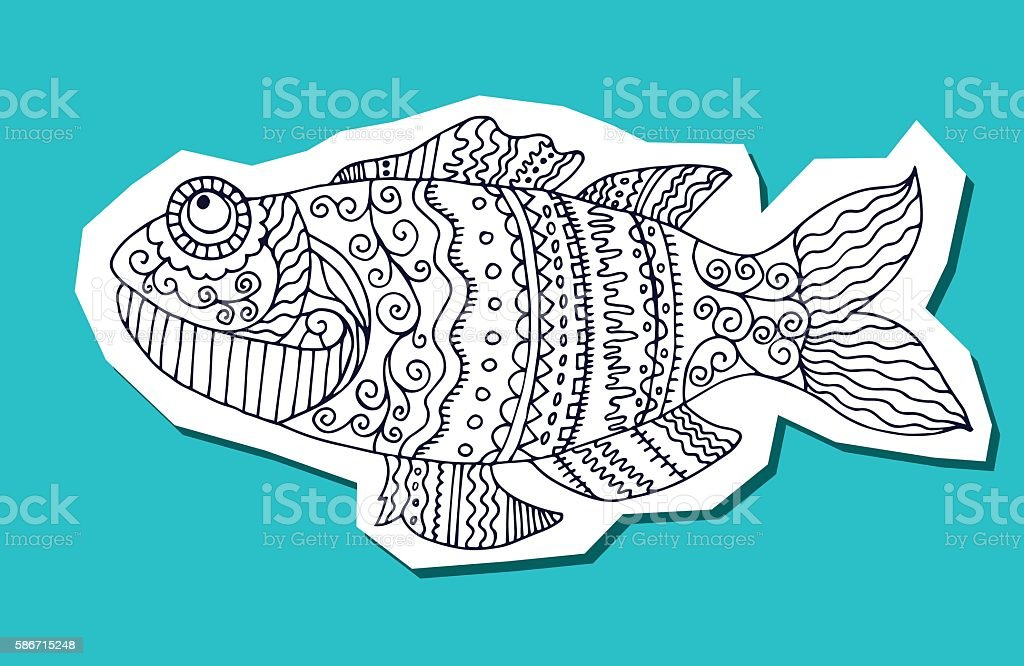 fish painted by hand. Graphic arts royalty-free stock vector art