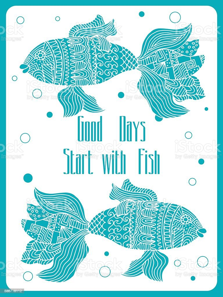 fish painted by hand. royalty-free stock vector art