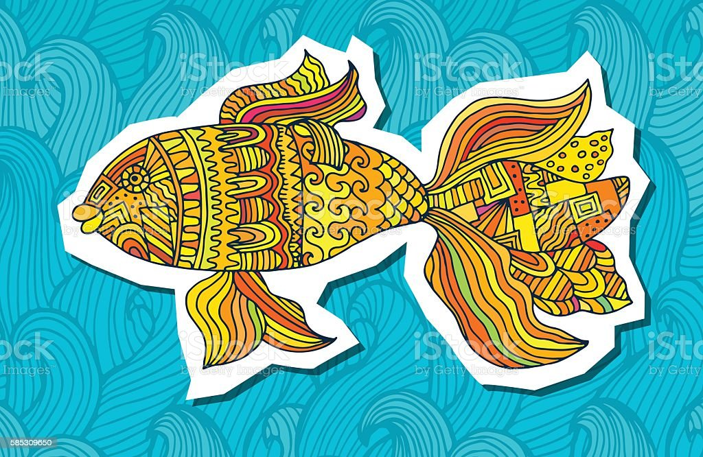 fish painted by hand. Vector illustration. Graphic arts royalty-free stock vector art