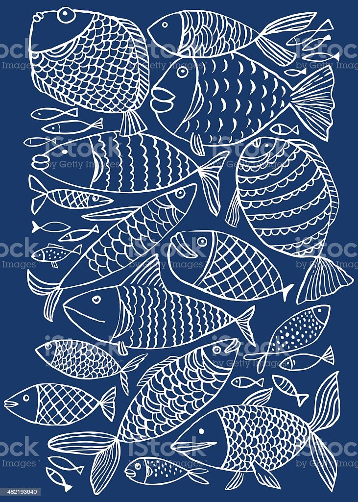 Fish pattern vector art illustration