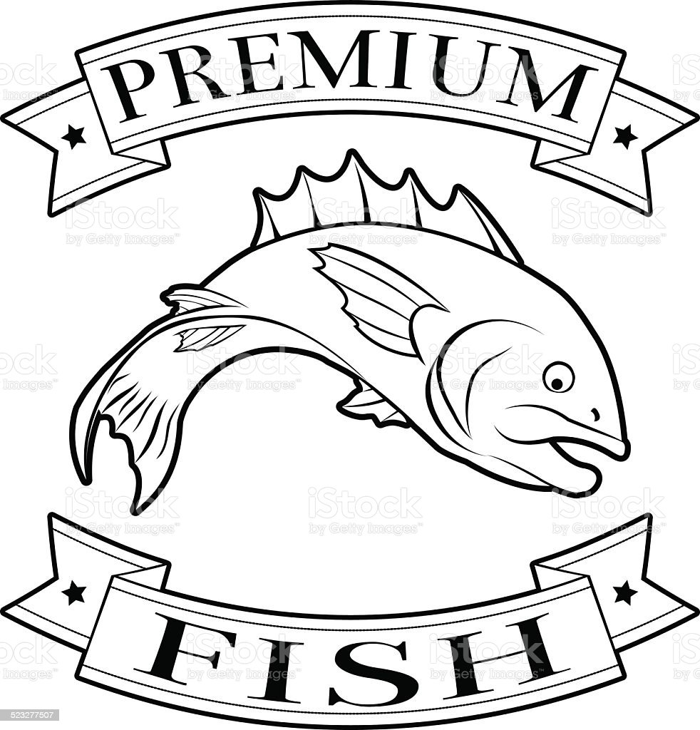 Fish premium food label vector art illustration