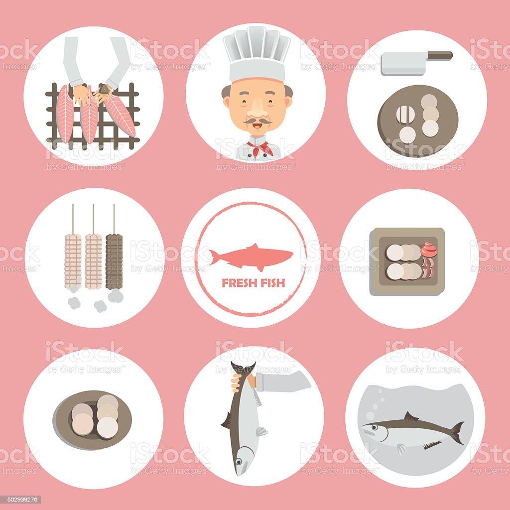 fish Production vector art illustration